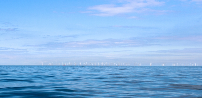 Wind Farm At Sea With Many Turbines