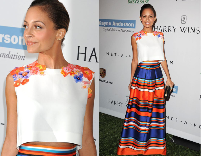 nicole richie flower stripe dress